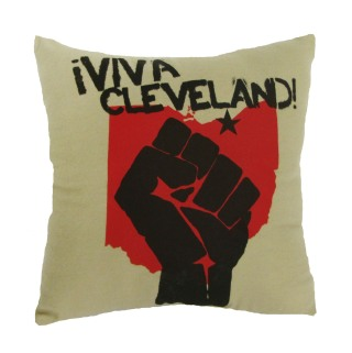 'Viva Cleveland' in Black and Red on Khaki Flannel Pillow