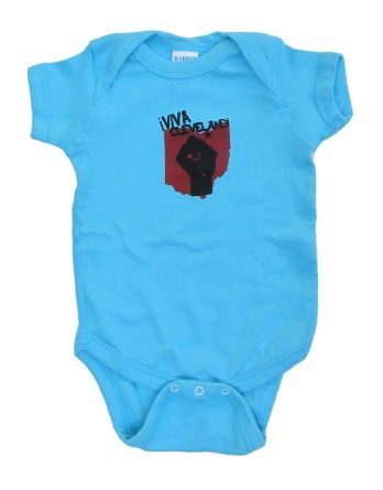 'Viva Cleveland!' in Red and Black on Aqua Blue Rabbit Skins Onesie