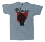 '!Viva Cleveland!' in Red and Black on Heather Grey Unisex Tee