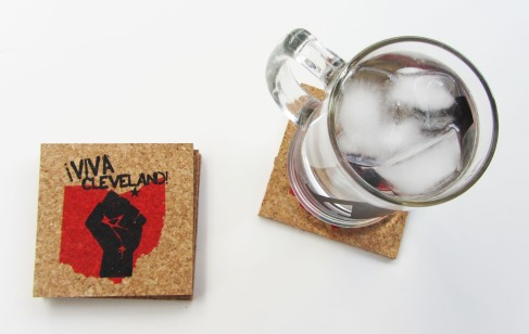 'Viva Cleveland!' in Red and Black on Natural 4'' x 4'' Cork Coasters (Installed)