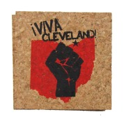 'Viva Cleveland!' in Red and Black on Natural 4'' x 4'' Cork Coasters
