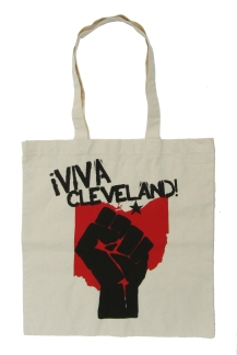 '!Viva Cleveland!' in Red and Black on Natural Tote