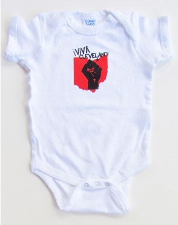 'Viva Cleveland!' in Red and Black on White Rabbit Skins Onesie