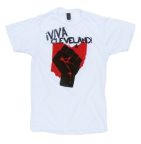 '!Viva Cleveland!' in Red and Black on White Unisex Tee