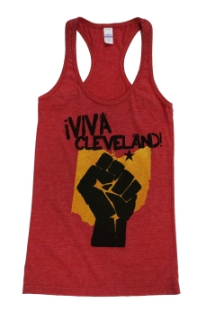 'Viva Cleveland' in Yellow and Black on Heather Red Racerback Tank