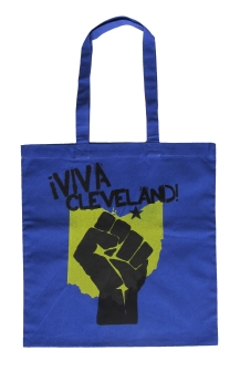 'Viva Cleveland!' in Yellow and Black on Royal Blue Tote