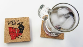 'Viva La Midwest!' in Red and Black on Natural 4'' x 4'' Cork Coasters (Installed)