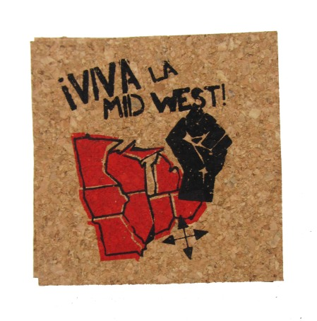 'Viva La Midwest!' in Red and Black on Natural 4'' x 4'' Cork Coasters