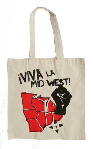 '!Viva La Midwest!' in Red and Black on Natural Tote