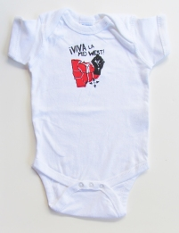 'Viva La Midwest!' in Red and Black on White Rabbit Skins Onesie