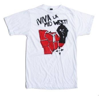 '!Viva La Midwest!' in Red and Black on White Unisex Tee