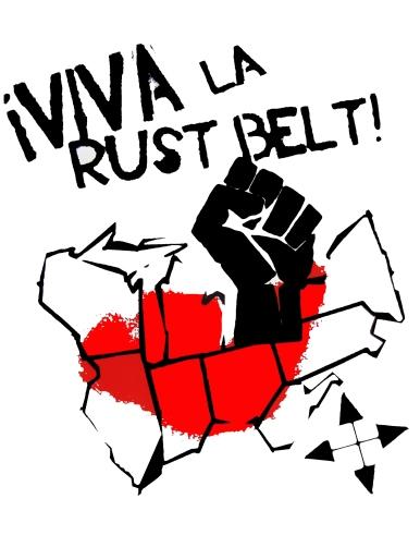 '!Viva La Rust Belt!' in Red and Black on 11'' x 14'' White Bristol Board