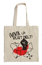 '!Viva La Rust Belt!' in Red and Black on Natural Tote