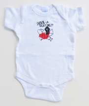 'Viva La Rust Belt!' in Red and Black on White Rabbit Skins Onesie