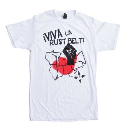 '!Viva La Rust Belt!' in Red and Black on White Unisex Tee