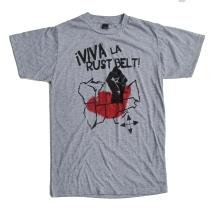 '!Viva La Rustbelt!' in Red and Black on Heather Grey Unisex Tee