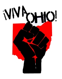 '!Viva Ohio!' in Red and Black on 11'' x 14'' White Bristol Board