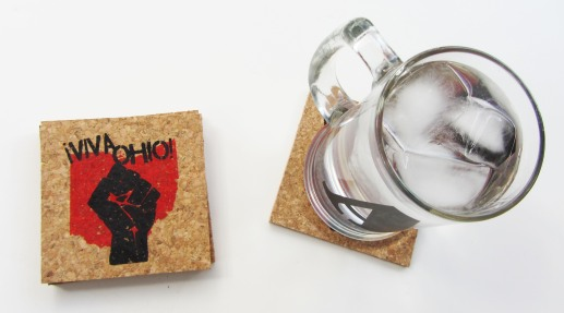 'Viva Ohio!' in Red and Black on Natural 4'' x 4'' Cork Coasters (Installed)