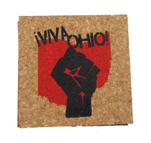 'Viva Ohio!' in Red and Black on Natural 4'' x 4'' Cork Coasters