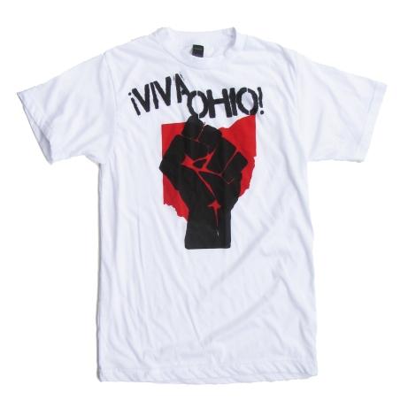 '!Viva Ohio!' in Red and Black on White Unisex Tee