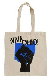 '!Viva Ohio!' in Royal Blue and Black on Natural Tote
