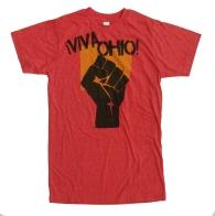 '!Viva Ohio!' in Yellow and Black on Heather Red Unisex Tee