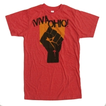 '!Viva Ohio!' in Yellow and Black on Heather Red Unisex Tee