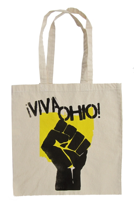 '!Viva Ohio!' in Yellow and Black on Natural Tote