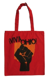 '!Viva Ohio!' in Yellow and Black on Red Tote