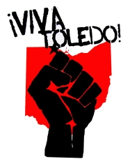 '!Viva Toledo!' in Red and Black on 11'' x 14'' White Bristol Board