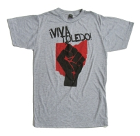 '!Viva Toledo!' in Red and Black on Heather Grey Unisex Tee