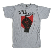 '!Viva Toledo!' in Red and Black on Heather Grey Unisex Tee