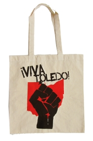 '!Viva Toledo!' in Red and Black on Natural Tote.jpg