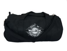 'Ward 216' Black Duffel Bag (Strap) (White Background)