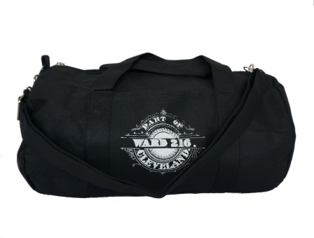 'Ward 216' Black Duffel Bag (Strap) (White Background)