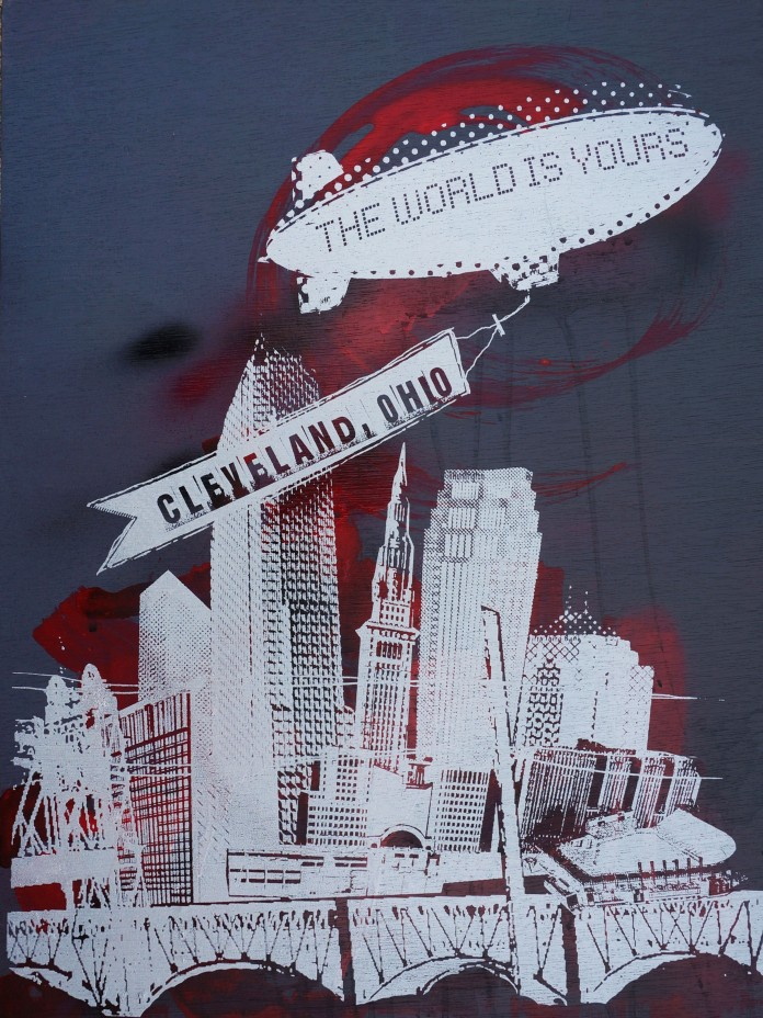 'World Is Yours' 18x24 Mixed Media, Wood (D)