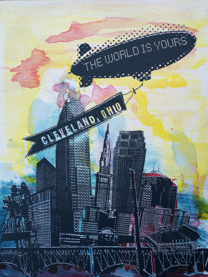 'World Is Yours' 18x24 Mixed Media, Wood (E)