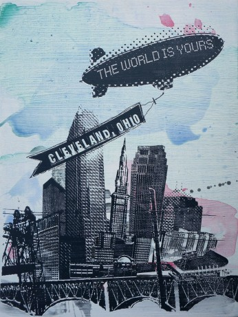 'World Is Yours' 18x24 Mixed Media, Wood (H)