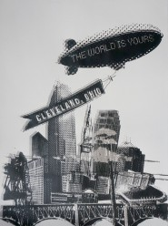 'World Is Yours', 22x30 White Stonehenge Screenprint (2 Color Cloud)