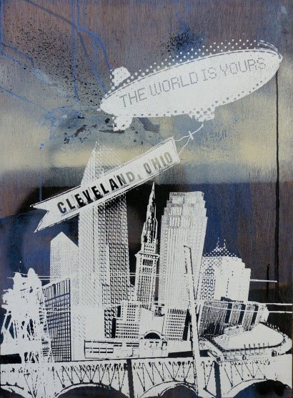 'World Is Yours', 22x30 Wood Screenprint + Mixed Media (Blues)