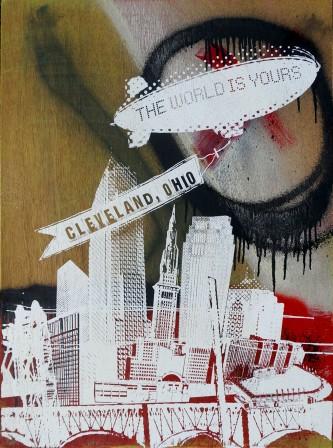 'World Is Yours', 22x30 Wood Screenprint + Mixed Media (Multi Spray)