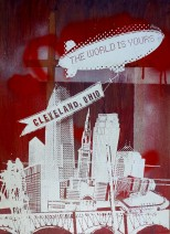 'World Is Yours', 22x30 Wood Screenprint + Mixed Media (Red)