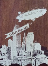 'World Is Yours', 22x30 Wood Screenprint + Mixed Media (Stained 2-Tone)