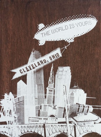 'World Is Yours', 22x30 Wood Screenprint + Mixed Media (Stained)
