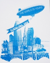 'World Is Yours' in Shimmer Blue ink on 11x14 White Bristol