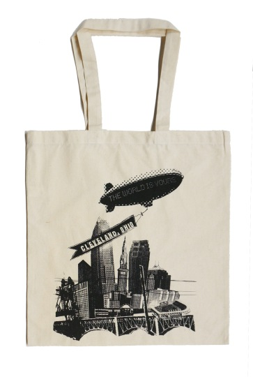 'World Is Yours' on Natural Tote Bag (Black Ink)