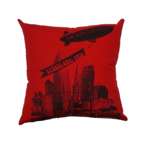 'World Is Yours' on Red Twill Pillow