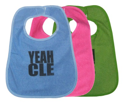 'YEAH CLE' in Graphite Grey on Multiple Bibs (Light Blue, Pink, Green)