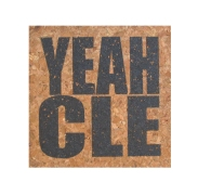 'YEAH CLE' in Graphite Grey on Square Cork Coasters (Detail)