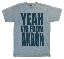 'YEAH I'M FROM AKRON' in Navy on Heather Grey Unisex Tee